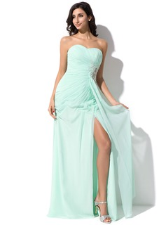Sheath/Column Sweetheart Floor-Length Chiffon Prom Dresses With Ruffle Beading Appliques Lace Sequins Split Front