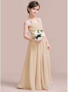 A-Line V-neck Floor-Length Chiffon Junior Bridesmaid Dress With Ruffle Lace