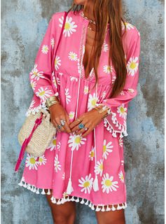 Floral Print Shift V-Neck 3/4 Sleeves Midi Casual Vacation Tunic Dresses