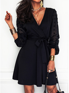 Solid A-line V-Neck Long Sleeves Midi Little Black Party Skater Dresses