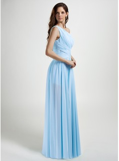 A-Line One-Shoulder Floor-Length Chiffon Prom Dresses With Ruffle Split Front