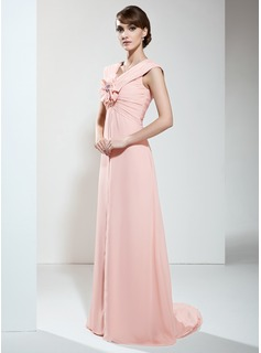 Empire V-neck Sweep Train Chiffon Mother of the Bride Dress With Ruffle Flower(s)
