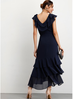 chiffon cocktail dresses with sleeves