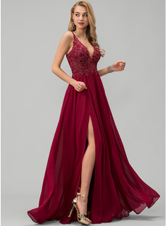 V-neck Floor-Length Chiffon Prom Dresses With Lace Sequins Split Front
