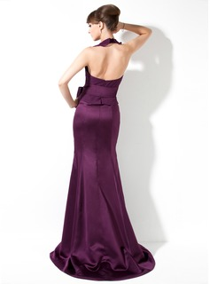 Trumpet/Mermaid Halter Sweep Train Chiffon Satin Bridesmaid Dress With Bow(s) Cascading Ruffles