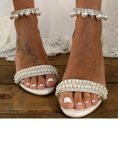 Women's Leatherette Chunky Heel Sandals With Pearl Chain