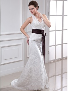 Trumpet/Mermaid Halter Court Train Lace Wedding Dress With Sash Crystal Brooch Bow(s)