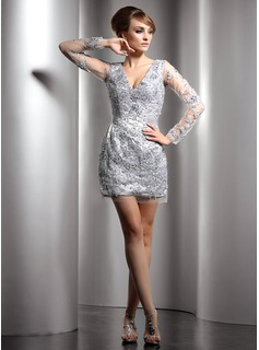 Sheath/Column V-neck Short/Mini Charmeuse Cocktail Dress With Beading Sequins