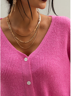 Ribbed Solid Polyester V-neck Pullovers Sweaters