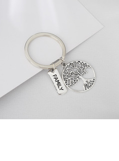 Family Round Stainless Steel Keychains
