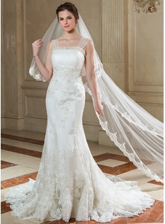 Trumpet/Mermaid Scalloped Neck Court Train Tulle Wedding Dress With Ruffle Lace Beading