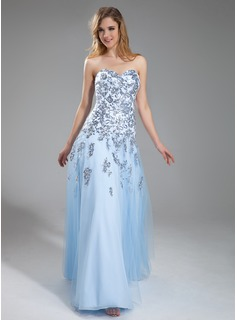 A-Line/Princess Sweetheart Floor-Length Tulle Prom Dress With Appliques Lace Sequins