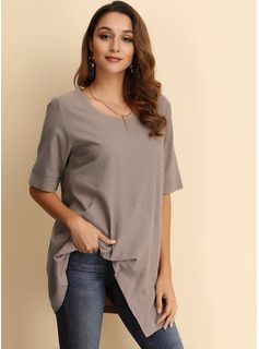 1/2 Sleeves Linen Round Neck Blouses