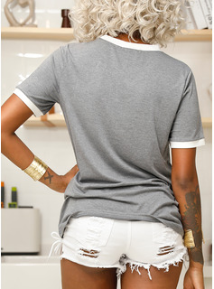 Short Sleeves Cotton Polyester Round Neck T-shirt Blouses