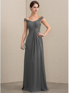 A-Line/Princess Off-the-Shoulder Floor-Length Chiffon Mother of the Bride Dress With Beading Sequins