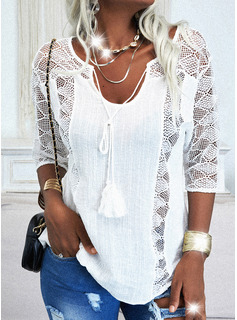 Regular Lace Solid Casual 3/4 Sleeves