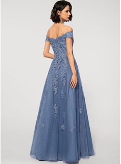 A-Line Off-the-Shoulder Floor-Length Tulle Lace Evening Dress