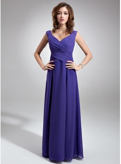 Chiffon V-neck Floor-length A-Line Bridesmaid Dress With Sash