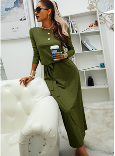 Solid Sheath Round Neck Long Sleeves Maxi Casual Dresses