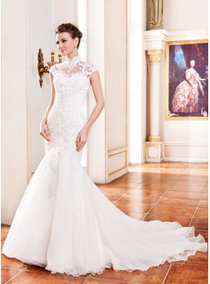 High Neck Lace Wedding Gown