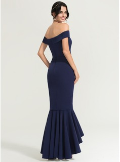 Trumpet/Mermaid Off-the-Shoulder Asymmetrical Stretch Crepe Prom Dresses