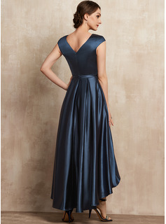 A-Line Scoop Neck Asymmetrical Satin Cocktail Dress With Bow(s) Pockets