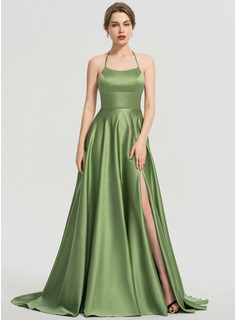 Scoop Neck Sweep Train Satin Prom Dresses With Split Front