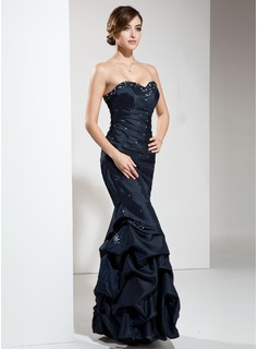 Empire Sweetheart Floor-Length Taffeta Prom Dress With Ruffle Beading Sequins
