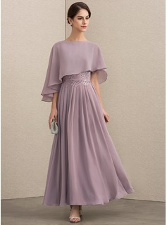 Scoop Neck Ankle-Length Chiffon Lace Mother of the Bride Dress With Beading Sequins