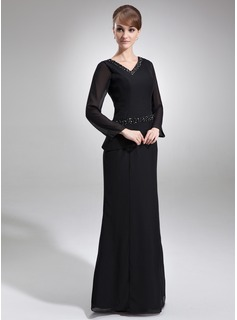 Sheath/Column V-neck Floor-Length Chiffon Mother of the Bride Dress With Beading