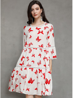 Cotton With Print/Hollow Knee Length Dress