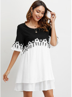 Polyester With Lace/Color-block Above Knee Dress