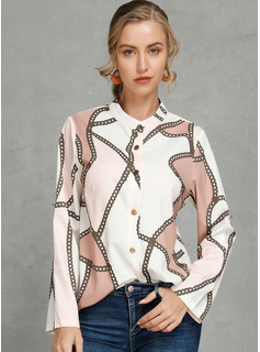 Long Sleeves Polyester V Neck Shirt Blouses Blouses
