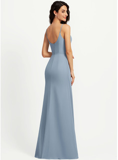 Sheath/Column V-neck Floor-Length Bridesmaid Dress