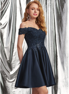 A-Line Off-the-Shoulder Short/Mini Satin Prom Dresses With Lace Sequins