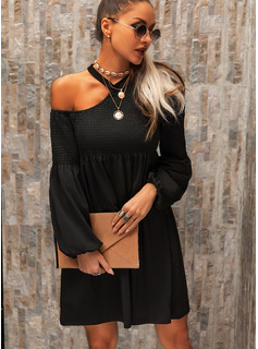 Solid Shift One Shoulder Long Sleeves Midi Casual Little Black Tunic Dresses