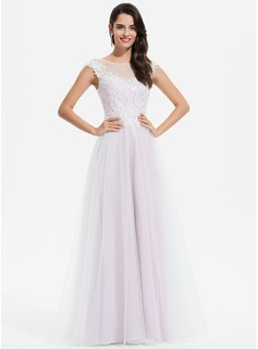 A-Line Scoop Neck Floor-Length Tulle Prom Dresses With Lace Sequins