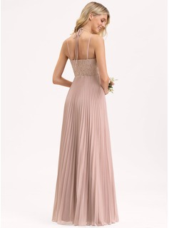 A-Line V-neck Floor-Length Chiffon Lace Bridesmaid Dress With Bow(s) Split Front Pleated