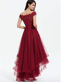 A-Line Off-the-Shoulder Asymmetrical Tulle Prom Dresses