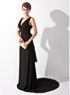 A-Line/Princess V-neck Court Train Chiffon Evening Dress With Ruffle Bow(s)