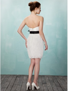 Sheath/Column Sweetheart Short/Mini Organza Cocktail Dress With Ruffle Sash Flower(s)