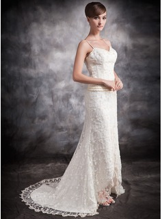Trumpet/Mermaid Sweetheart Asymmetrical Lace Wedding Dress With ...