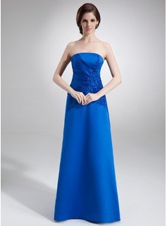 A-Line/Princess Strapless Floor-Length Satin Mother of the Bride Dress With Ruffle Lace Beading