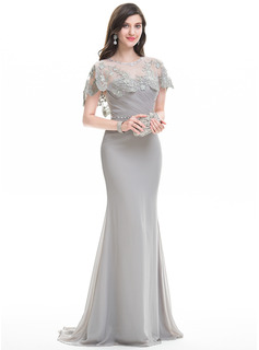 Sheath/Column Sweetheart Sweep Train Chiffon Evening Dress