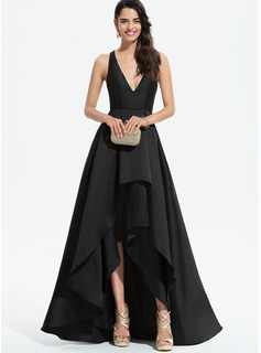A-Line V-neck Asymmetrical Satin Bridesmaid Dress With Cascading Ruffles