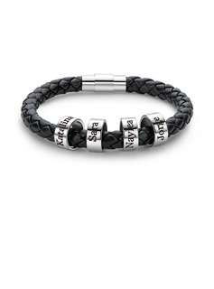 Personalized Mens Custom Engraved Platinum Plated Stainless Steel Bracelets
