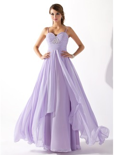 A-Line/Princess Sweetheart Floor-Length Chiffon Prom Dresses With Ruffle Beading