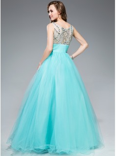 Ball-Gown Scoop Neck Floor-Length Tulle Prom Dresses With Beading Sequins