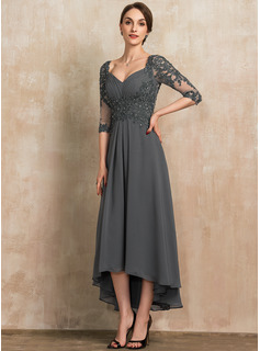 A-Line Sweetheart Asymmetrical Chiffon Lace Evening Dress With Beading Sequins