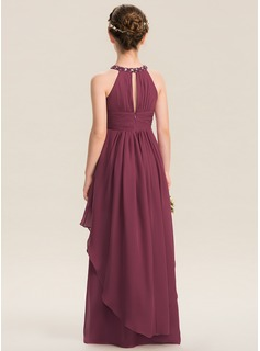 Scoop Neck Floor-Length Chiffon Junior Bridesmaid Dress With Ruffle Beading